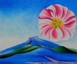 Hollyhock Pink with Pedernal - Georgia O'Keeffe Oil Painting