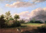 Strolling along a Country Roas - Thomas Birch Oil Painting