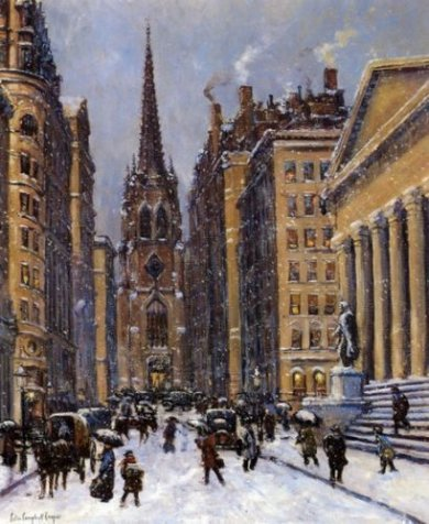 Wall Street Facing Trinity Church - Colin Campbell Cooper Oil painting
