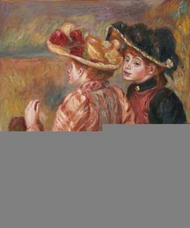Two Seated Young Girls - Oil Painting Reproduction On Canvas