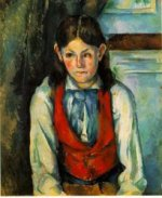 Boy in a Red Vest IV - Paul Cezanne Oil Painting