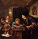 The Severe Teacher - Jan Steen oil painting