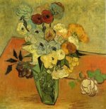 Japanese Vase with Roses and Anemones - Vincent Van Gogh Oil Painting