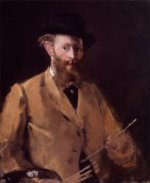 Self Portrait with Palette - Edouard Manet Oil Painting