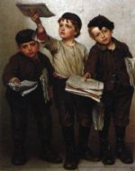 Morning Papers - John George Brown Oil Painting
