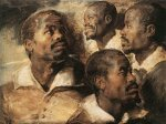Four Studies of the Head of a Negro - Peter Paul Rubens Oil Painting