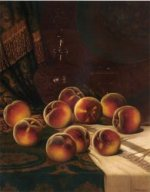 Still Life with Peaches - William Mason Brown Oil Painting