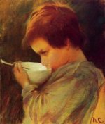 Child Drinking Milk - Mary Cassatt Oil Painting
