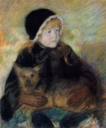 Elsie Cassatt Holding a Big Dog - Mary Cassatt Oil Painting