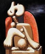 Woman in Red Armchair II - Oil Painting Reproduction On Canvas