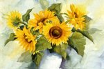 A bunch of sunflowers in a vase - Oil Painting Reproduction On Canvas