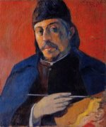 Self Portrait with Palette - Paul Gauguin Oil Painting