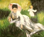 Woman with a Parasol and a Small Child on a Sunlit Hillside by Pierre Auguste Renoir