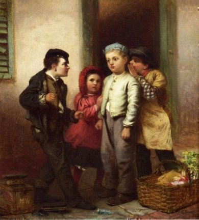Sorry He Spoke - John George Brown Oil Painting