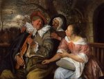 The Merry Threesom - Jan Steen oil painting