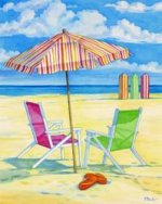 Summer beach 3 - Oil Painting Reproduction On Canvas