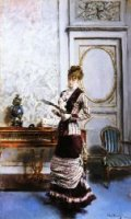 A Lady Admiiring a Fan - Oil Painting Reproduction On Canvas