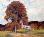Autumn Hillside & My Studio - Robert Vonnoh Oil Painting