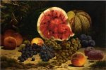 Still Life with Watermelon, Grapes, Peaches, Plums and Plums - William Mason Brown Oil Painting