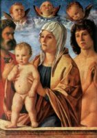 Madonna with Child and Sts Peter and Sebastian - Giovanni Bellini Oil Painting