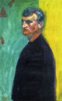 Self Portrait Against Two-Colored Background - Edvard Munch Oil Painting