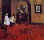 Children Playing Parlor Croquet (sketch) - William Merritt Chase Oil Painting