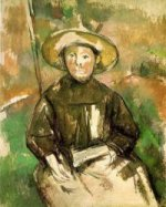 Child with Straw Hat - Paul Cezanne Oil Painting