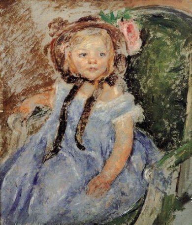 Sara in Dark Bonnet with Right Hand on Arm of Chair - Mary Cassatt Oil Painting