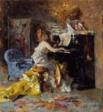 Woman at a Piano - Oil Painting Reproduction On Canvas