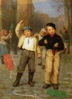 Flying Kites - John George Brown Oil Painting