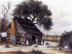 Louisiana Cabin Scene with Stretched Hide on Weatherboard and Stock Chimney Covered with Clay - William Aiken Walker Oil Painting