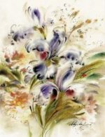 Three purple irises - Oil Painting Reproduction On Canvas