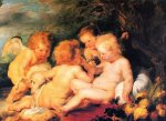 Christ and St. John with Angels - Peter Paul Rubens Oil Painting