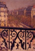 A Balcony in Paris - Gustave Caillebotte Oil Painting