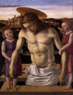 Dead Christ Supported by Two Angels (Pietà) - Giovanni Bellini Oil Painting