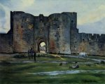 Queens Gate at Aigues-Mortes - Jean Frederic Bazille Oil Painting