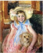 Sara in a Large Flowered Hat, Looking Right, Holding Her Dog - Mary Cassatt Oil Painting
