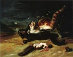 Two Cats Fighting - John James Audubon Oil Painting