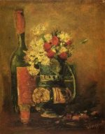 Vase with Carnations and Bottle - Vincent Van Gogh Oil Painting