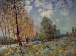 By the River - Alfred Sisley Oil Painting