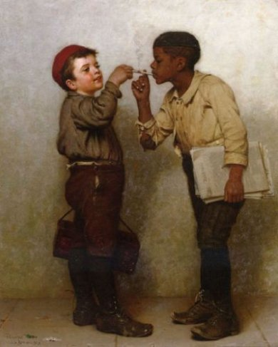 Give Him a Light - John George Brown Oil Painting