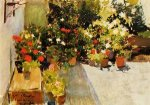 A Rooftop with Flowers - Joaquin Sorolla y Bastida Oil Painting