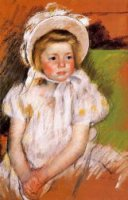 Somone in a White Bonnet - Mary Cassatt Oil Painting