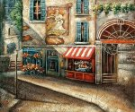 Cobblestone Street with Shops - Oil Painting Reproduction On Canvas