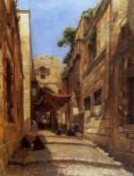 David Street in Jerusalem - Gustav Bauernfeind Oil Painting