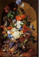 Still Life with Flowers and Grapes - Leopold Zinnogger Oil Painting