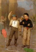 Kite Flyers - John George Brown Oil Painting
