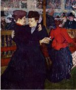 At the Moulin Rouge: the Two Waltzers - Henri De Toulouse-Lautrec Oil Painting