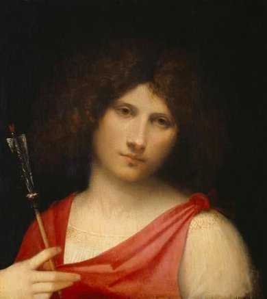 Young Man with Arrow - Giorgio Barbarelli da Castelfranco Oil Painting