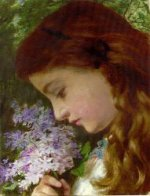 Girl with Lilacs - Sophie Anderson Oil Painting
